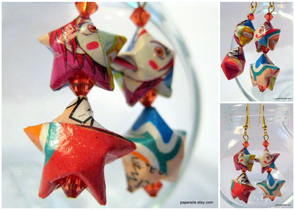 Lovely Complex Origami Earring by roserevolution - Y�ld�zl� K�pe