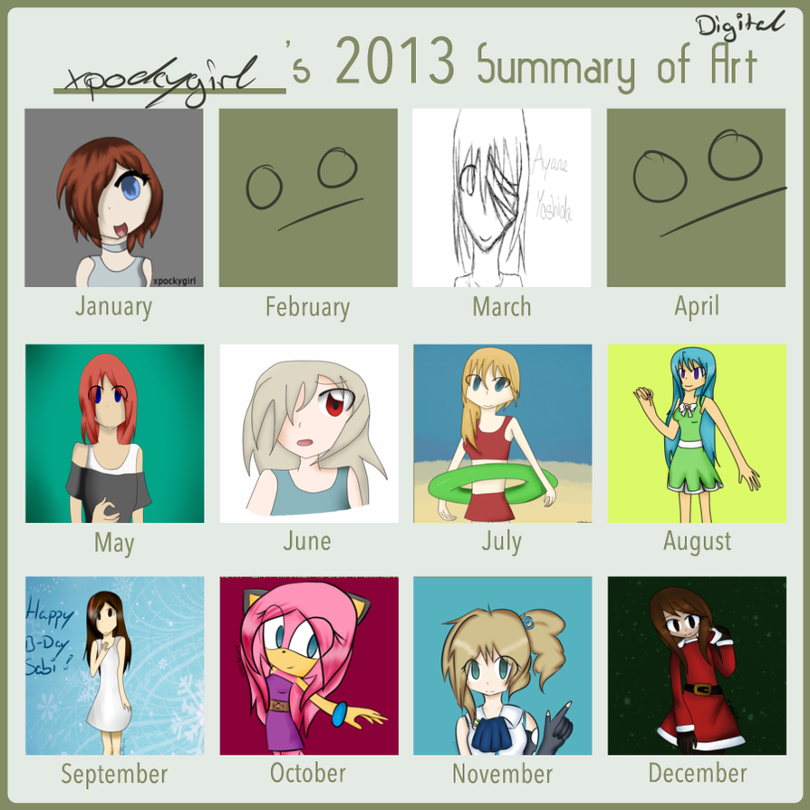 Digital Art Summary 2013 By Xpockygirl On Deviantart