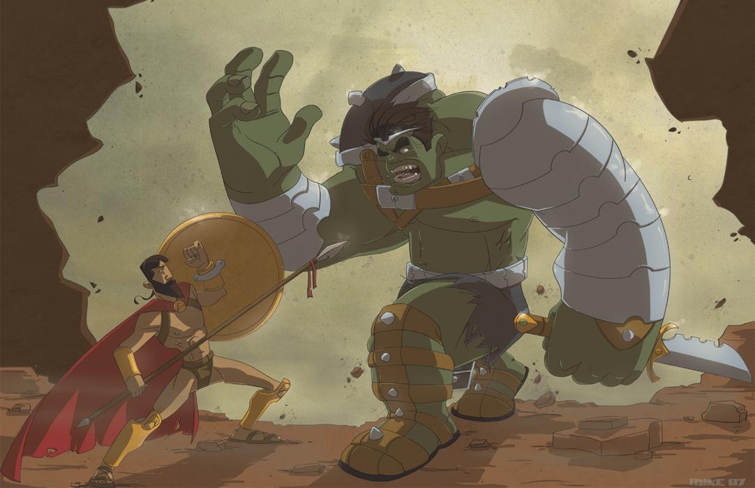 Leonidas vs Hulk by LightBombMike