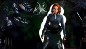 The Tar Monster lifts Black Widow off the ground 4