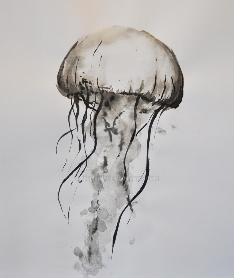 It is a photo of Peaceful Jellyfish Ink Drawing