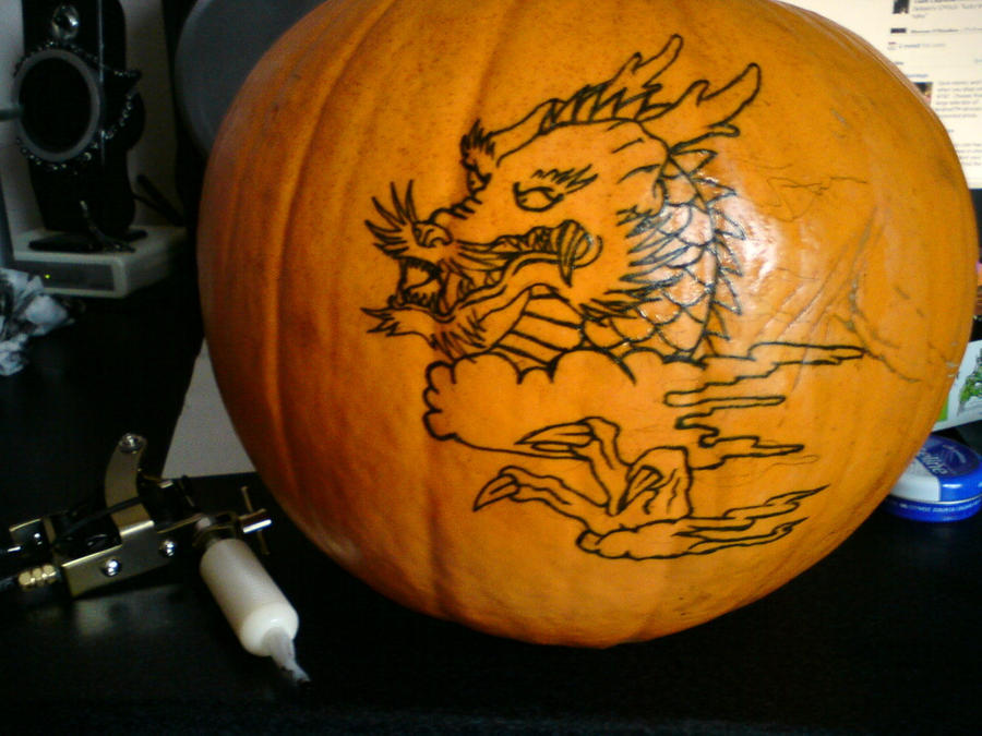 Tattoo practice on a pumpkin by unmei wo hayamete on for Practice skin for tattooing