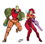 Red Winged Angel and Samus by AdaptableSimon