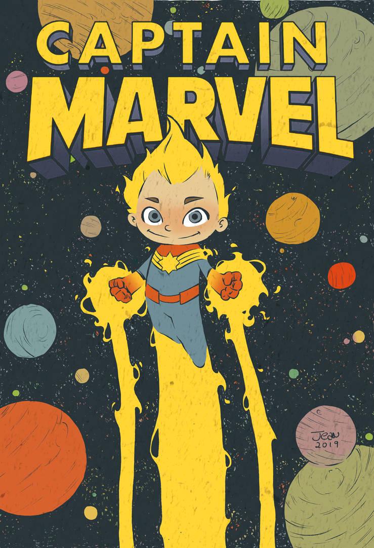 Captain Marvel Fanart Cover Vintage by ilustrajean