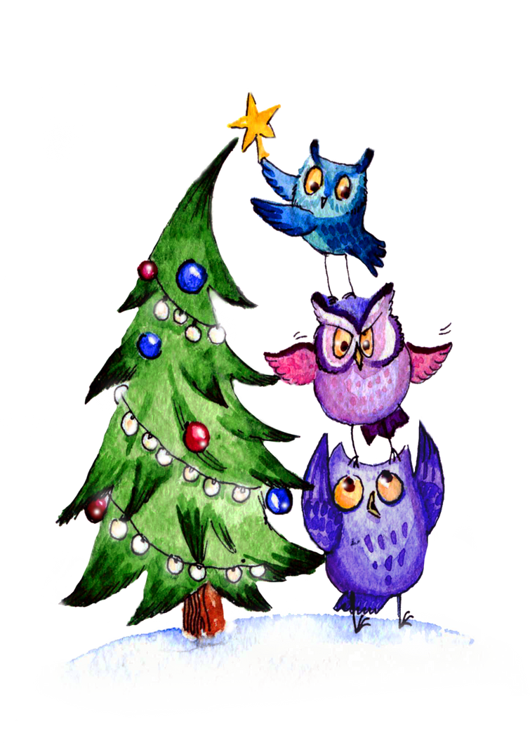 Owls Christmas by Redilion