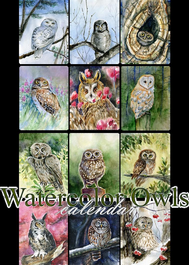 Watercolor owls calendar 2016 by Redilion