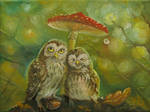 Cute Owl Couple under the Mushroom