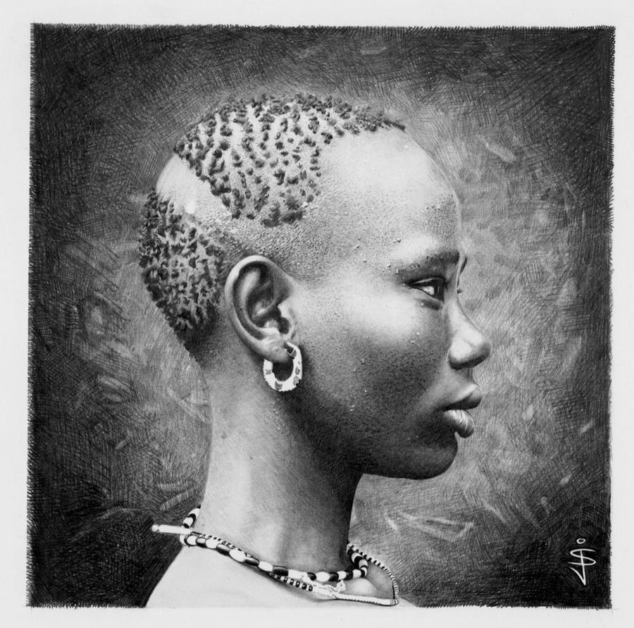 African Girl - pencil study by NorthumbrianArtist