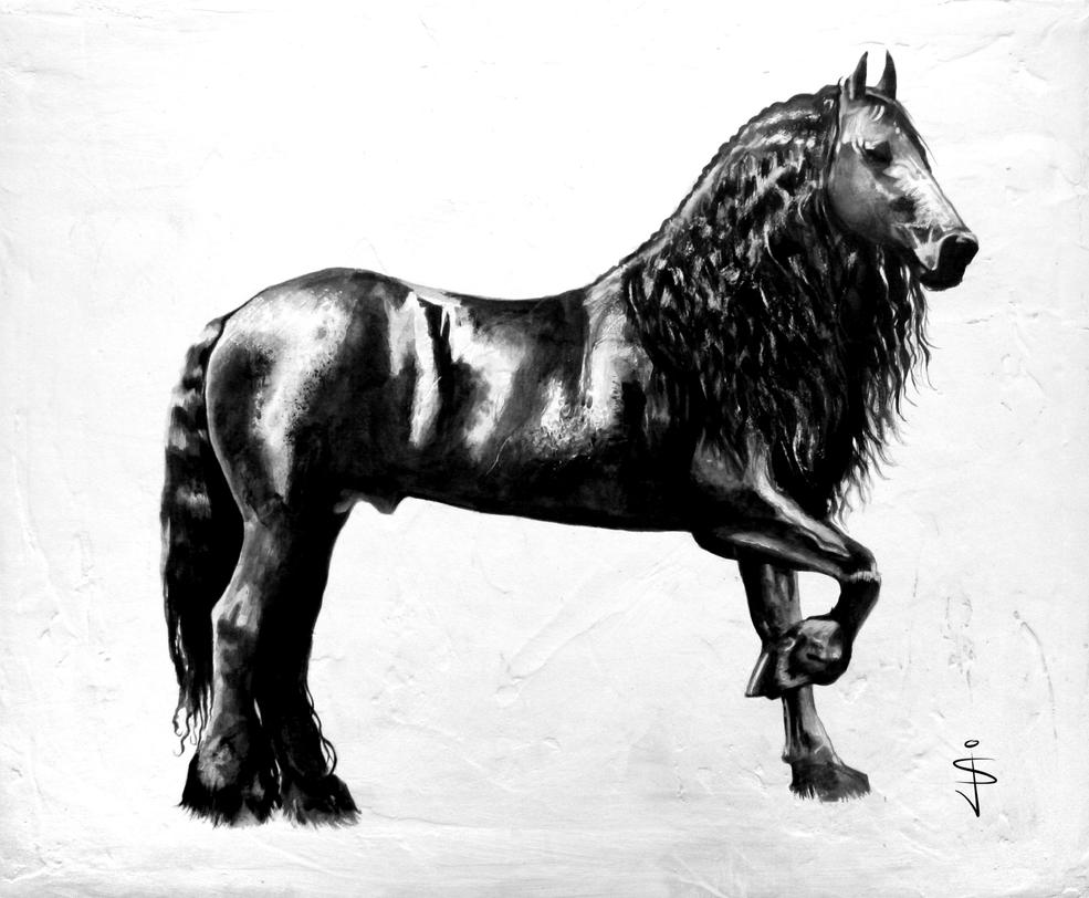 Fresian Stallion by NorthumbrianArtist