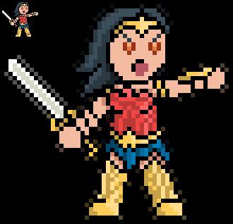 Chibi Wonder Woman (Pixel Dailies) by NightShadow0