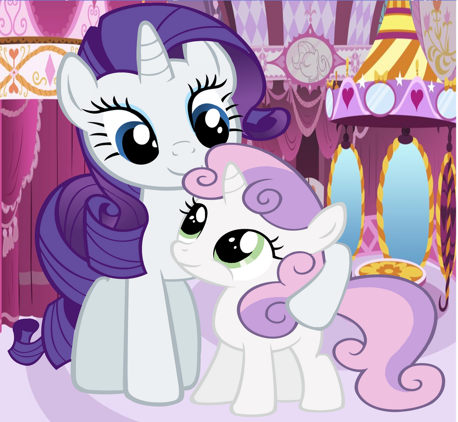 Rarity And Sweetie Belle Hugging. By AprilLilypegasi On