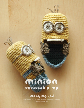 Free Crochet Pattern For Baby Minion Slippers : Minion Baby Booties Crochet Pattern by KittyingYing on ...