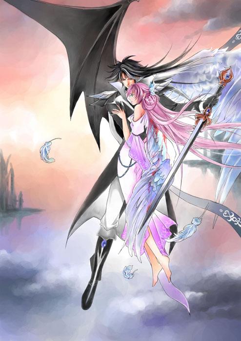 аниме ангел и демон любовь картинки