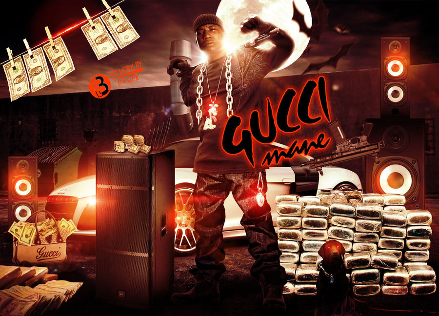 GUCCI MANE MIXTAPE COVER BY: E3 GFX by RED-1-E-THREE on
