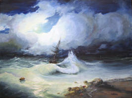 Rough Sea at night. by AmyLee125