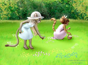 Sierra and Dakota in a field of flowers