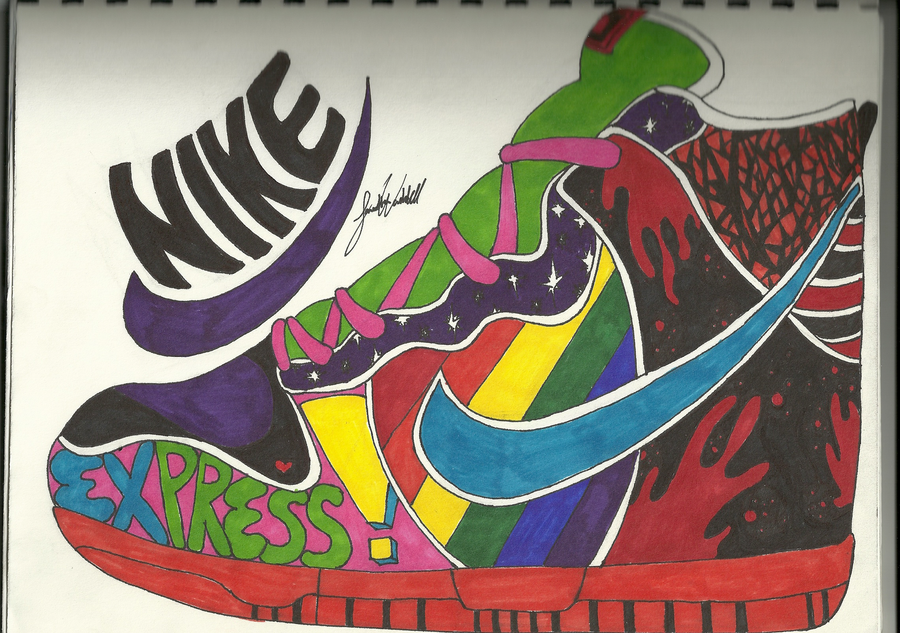 Contour Line Drawing Shoes Lesson Plan : Art project nike shoe by animeloversam on deviantart