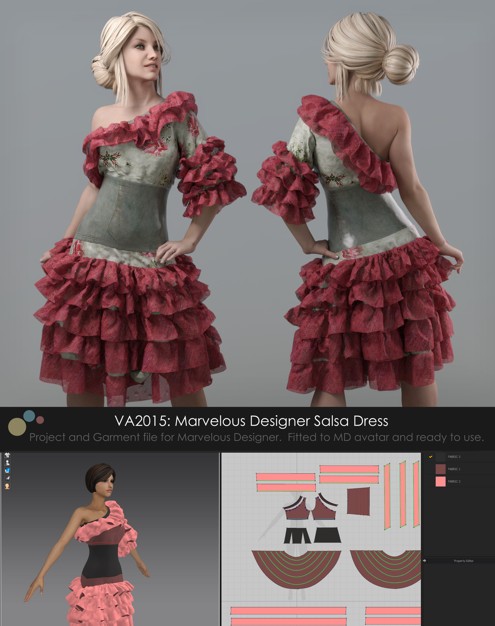 VA2015: Marvelous Designer Salsa Dress [Gumroad] by VAlzheimer