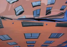 Orange building on a car by vijujako