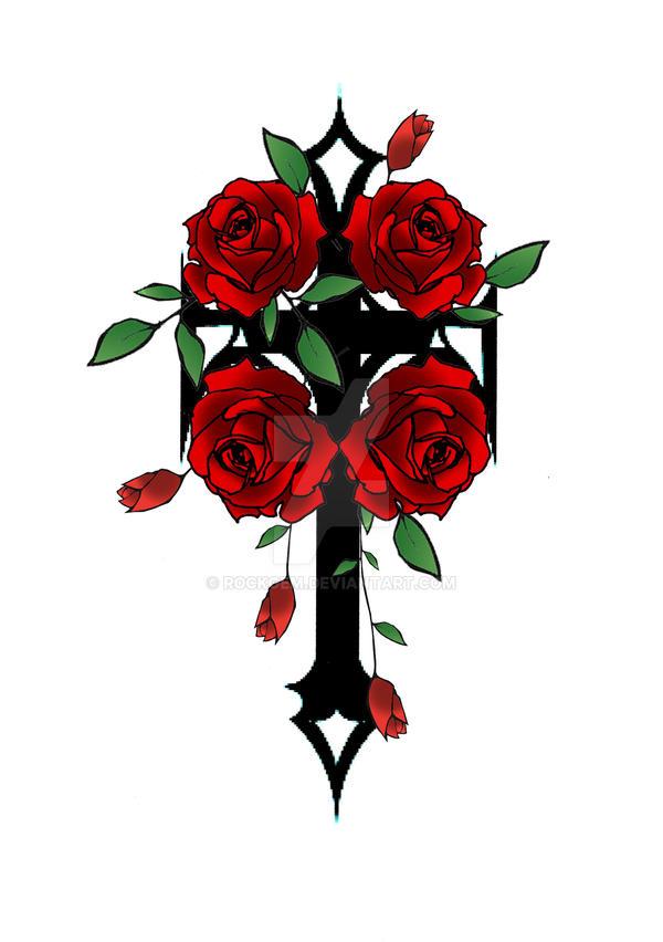 gothic cross an roses by rockgem on deviantart. Black Bedroom Furniture Sets. Home Design Ideas