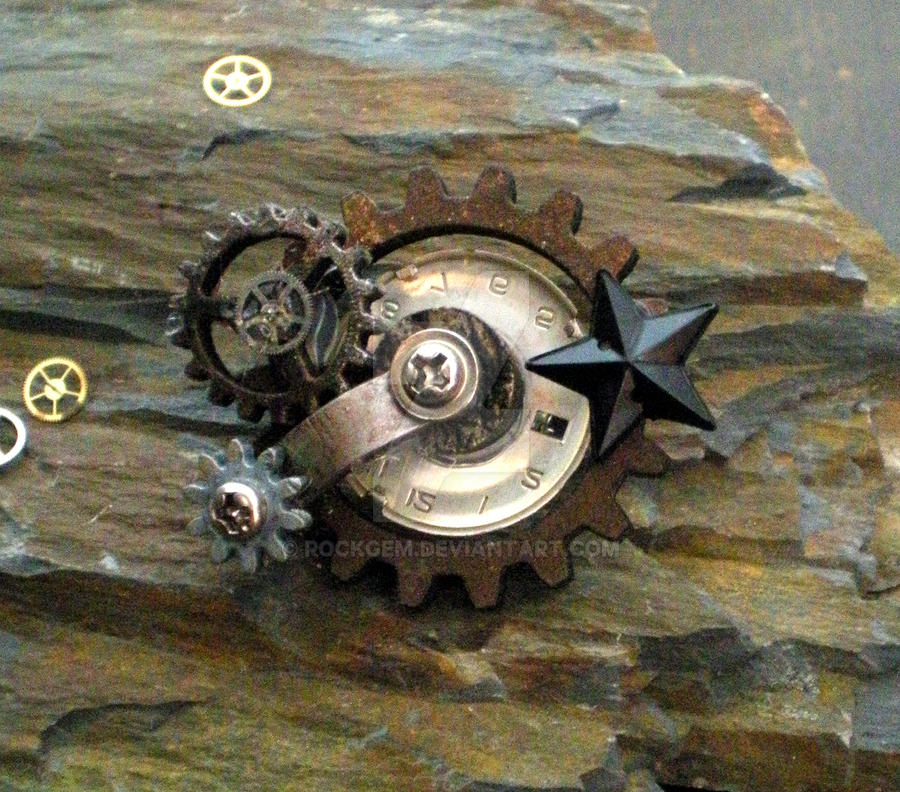 Steampunk Pinbadge - Black Star by rockgem