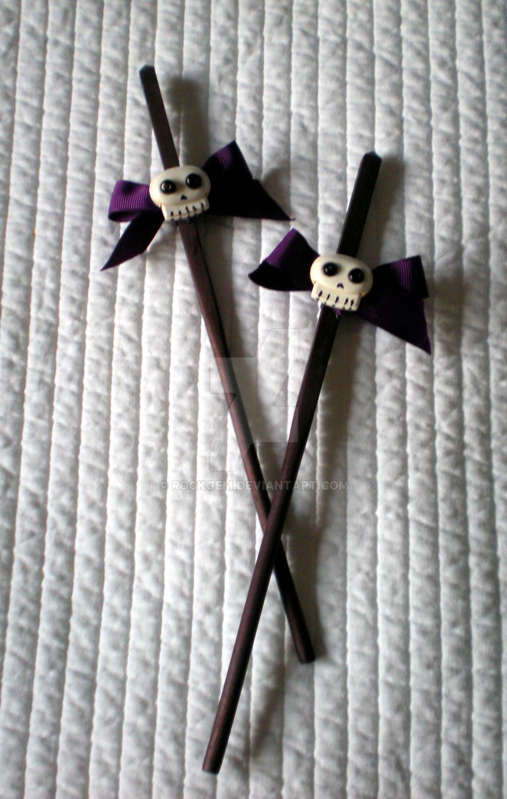 Hair 'Chopsticks' - purple bow and cute skulls II by rockgem