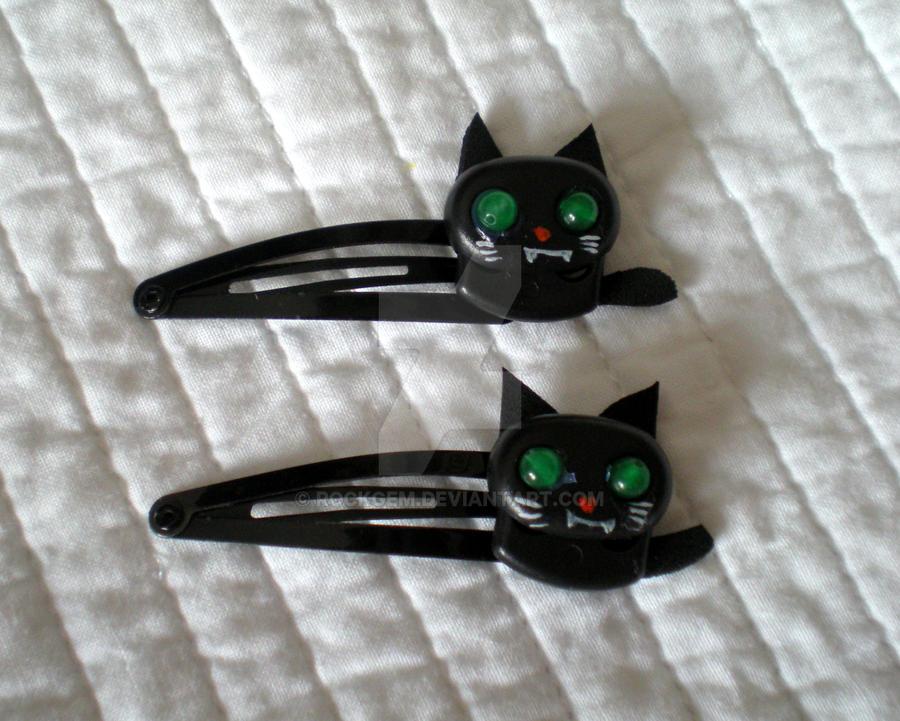 Cute Black Cats -  Black Hairclips by rockgem