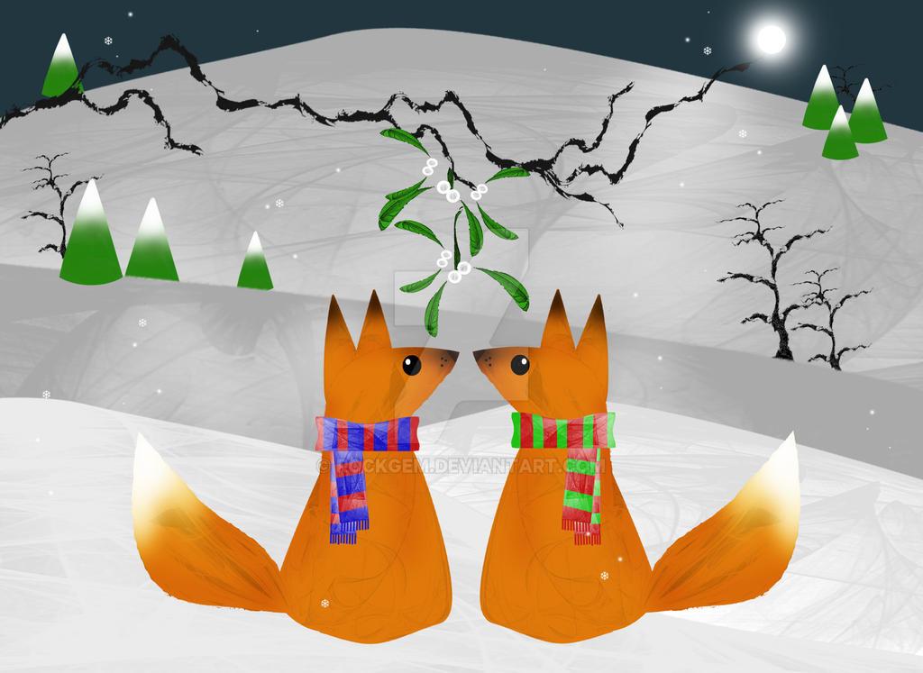 Mistletoe foxes by rockgem