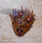 Leather hedgehog with pink flowers