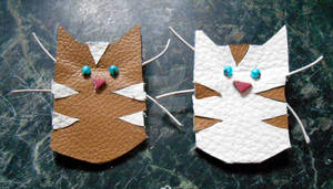 Leather cats - brown and white