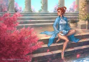 Lorraine by a pond by Yioshka