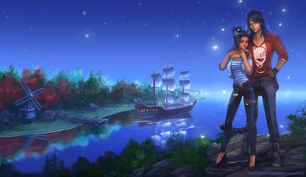 Moon's ship by Yioshka