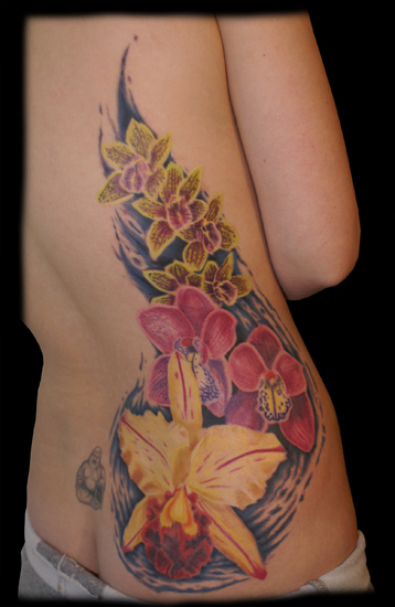 Orchids on a Back | Flower Tattoo