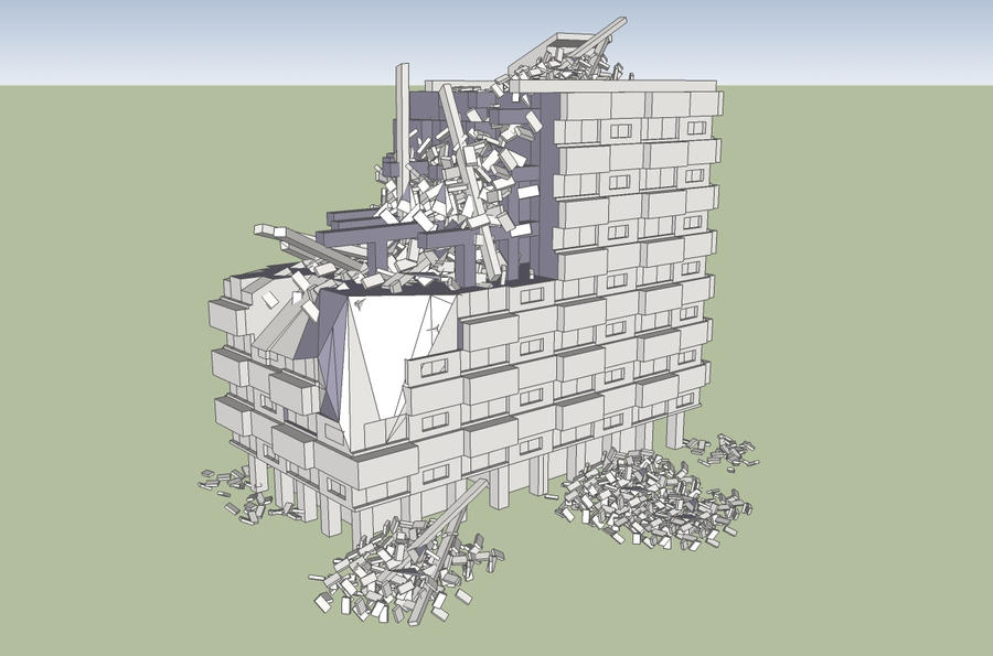 Sketchup bombed out apartment building by obhan on deviantart for Sketchup building