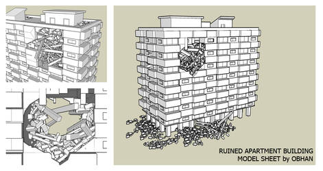 Ruined Apartment Building Model Sheet