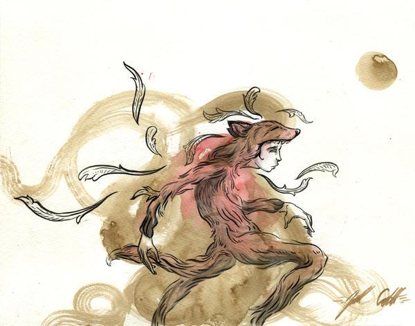 Running Fox by manfishinc