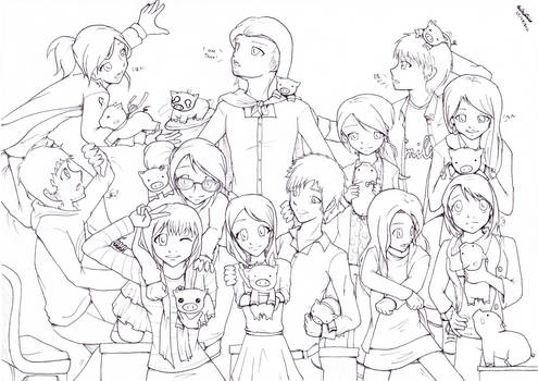 Friends are my family - line-art
