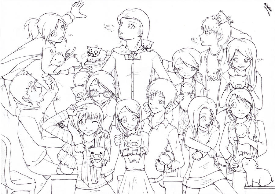 Line Art Group : Friends are my family line art by ai ball on deviantart