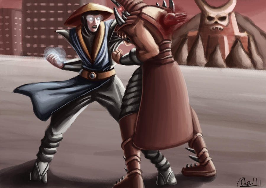 Raiden VS Shao Kahn by Artisteternal
