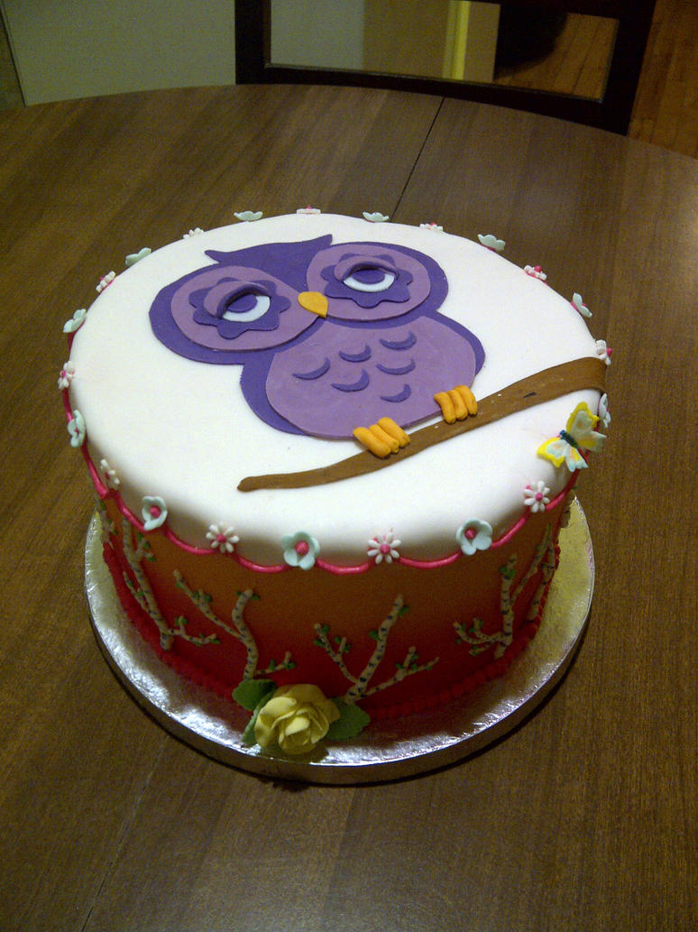 Owl cake by estranged-illusions