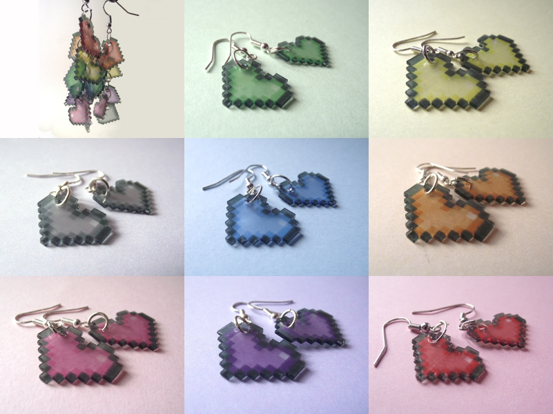 Pixel heart earrings by AnneKo