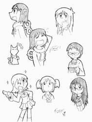Some Nichijou doodles by FritzyMagpies