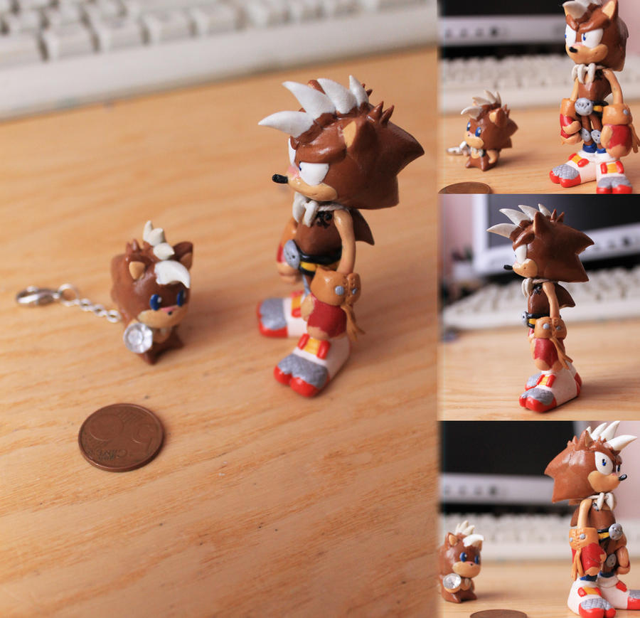 :CM: Fimo art Spike and chibi Spike keychain by Rush88