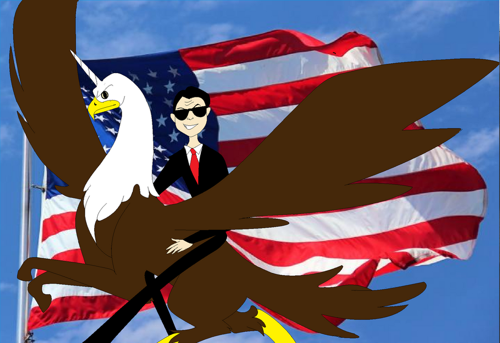 Ronald Reagan riding an eagle unicorn by PinkandCuteness