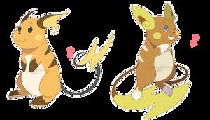 PKMN: Raichu Doodles by BijutsuYoukai