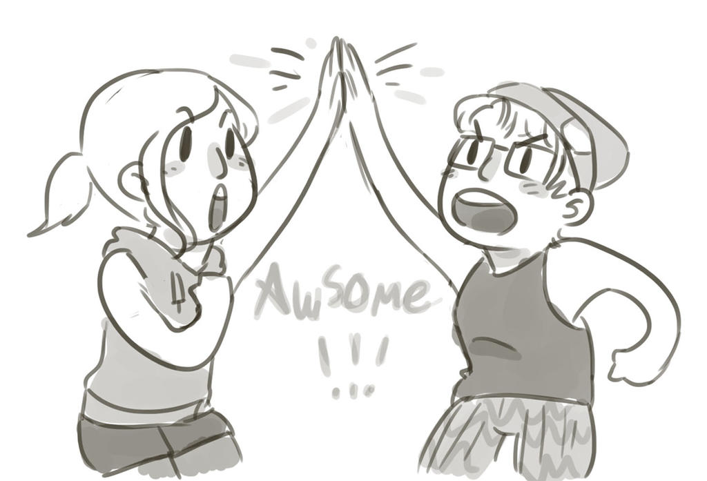 Emma and me are AWESOME by moimanga