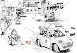 Spirou in Fiat pursuit