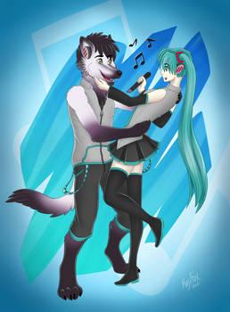 Aelwyn and Miku Hatsune Gift Art