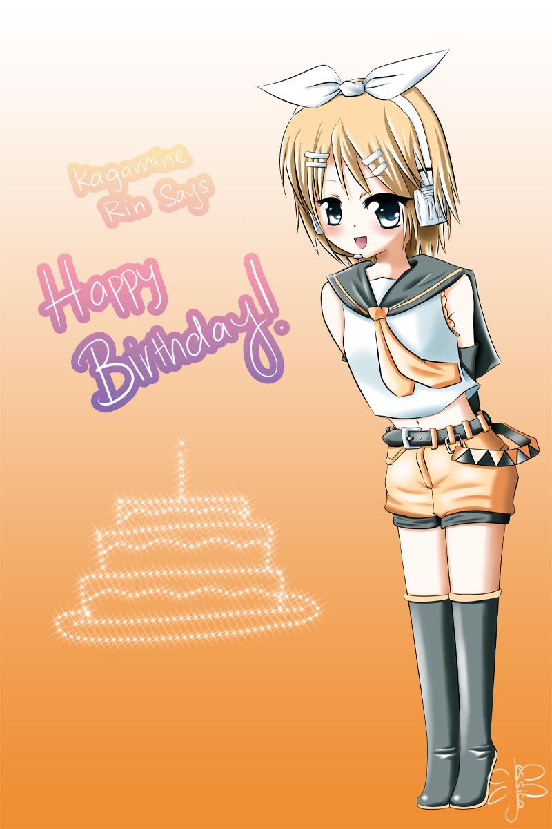Rin says happy bday by kaorune