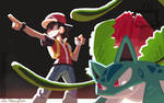 Red and Ivysaur by Cardbordtoaster